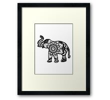 Mandala Elephant Black Framed Print