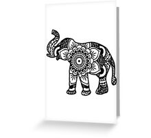 Mandala Elephant Black Greeting Card