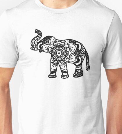 Mandala Elephant Black Unisex T-Shirt