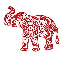 Mandala Elephant Red by laurauroraa