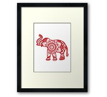Mandala Elephant Red Framed Print