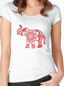 Mandala Elephant Red Women's Fitted Scoop T-Shirt