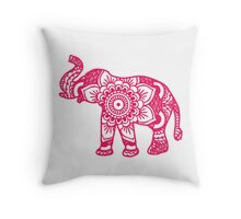 Mandala Elephant Pink Throw Pillow