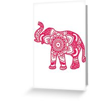 Mandala Elephant Pink Greeting Card