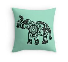 Mandala Elephant Black Throw Pillow