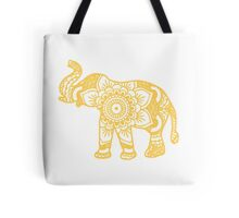 Mandala Elephant Yellow Tote Bag