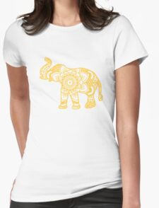Mandala Elephant Yellow Womens Fitted T-Shirt