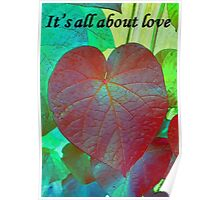 It's All About Love Heart Leaf Vector With Text Poster