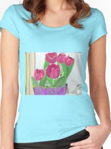 Tulips from Sally Women's Fitted Scoop T-Shirt