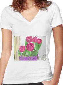 Tulips from Sally Women's Fitted V-Neck T-Shirt