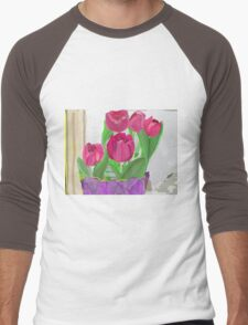 Tulips from Sally Men's Baseball ¾ T-Shirt