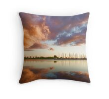 Reflecting on Yachts and Clouds - Lake Ontario Impressions Throw Pillow