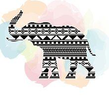 Elephant Aztec Watercolor by Jackie Maniscalco