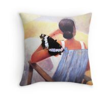 Lady With A Tattered Butterfly Throw Pillow