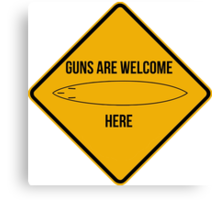 Guns are welcome here caution sign -SURF PARODY- Canvas Print