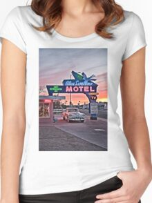 Blue Swallow Motel, Tucumcari, New Mexico Women's Fitted Scoop T-Shirt