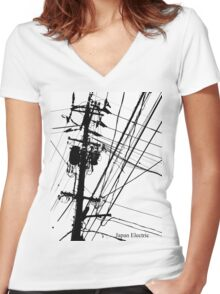 Japan Electric Women's Fitted V-Neck T-Shirt