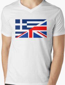 uk greece flag Mens V-Neck T-Shirt