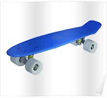 Blue retro Skate - Amazing 3D transparent Effect Poster