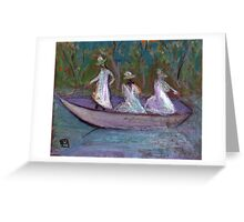 3 Girls in a boat Greeting Card