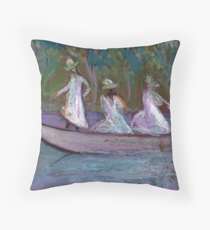 3 Girls in a boat Throw Pillow