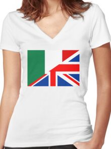 uk italy flag Women's Fitted V-Neck T-Shirt