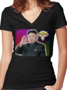 ALL HAIL GLORIOUS LEADER Women's Fitted V-Neck T-Shirt