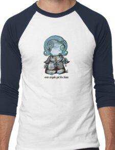 Even Angels Get the Blues in Blues (Sml Design) Men's Baseball ¾ T-Shirt