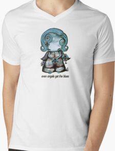 Even Angels Get the Blues in Blues (Sml Design) Mens V-Neck T-Shirt