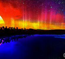 Sky Scape #1 - Beautiful Sun and Moon Reflective Landscape Design by capartwork