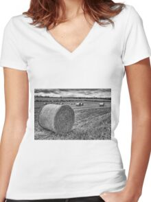 Round Bales Women's Fitted V-Neck T-Shirt