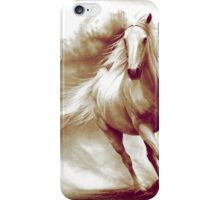 Galloping white horse retouched drawing iPhone Case/Skin