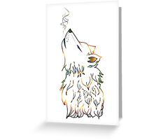 Colorful Howling Wolf Greeting Card