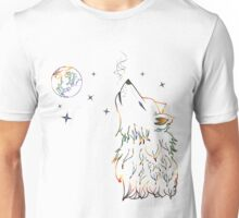 Colorful Howling Wolf 3 Unisex T-Shirt