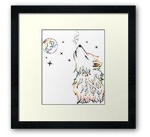 Colorful Howling Wolf 3 Framed Print