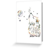 Colorful Howling Wolf 3 Greeting Card