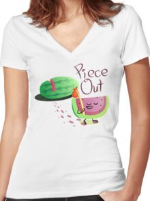 Piece Out Women's Fitted V-Neck T-Shirt