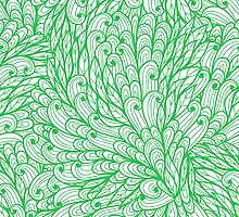 Green hand drawn doodle pattern by Patternalized