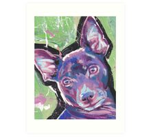 Rat Terrier Dog Bright colorful pop dog art Art Print