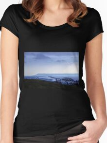 Landscape across Chesil Beach and Abbotsbury Women's Fitted Scoop T-Shirt