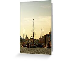 Boats on Thames River at Sunset, London, England Greeting Card