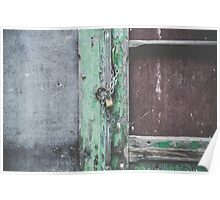 Old wooden door with lock Poster