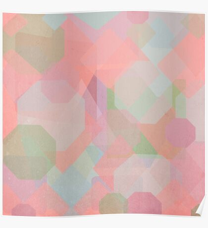 Hexagon, Square and Diamond Patterned Abstract Design Poster