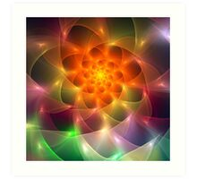 Colourful fractal vortex abstract Art Print