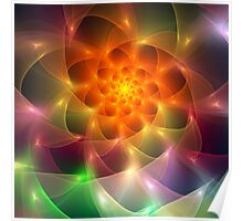 Colourful fractal vortex abstract Poster