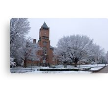 Old courthouse in the snow Canvas Print