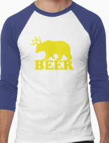 Funny Beer Bear with Antlers Men's Baseball ¾ T-Shirt