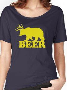 Funny Beer Bear with Antlers Women's Relaxed Fit T-Shirt