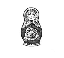 Hand Drawn Dot Work Russian Doll  by elliegillard