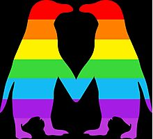 Rainbow penguins in love. Photographic Print